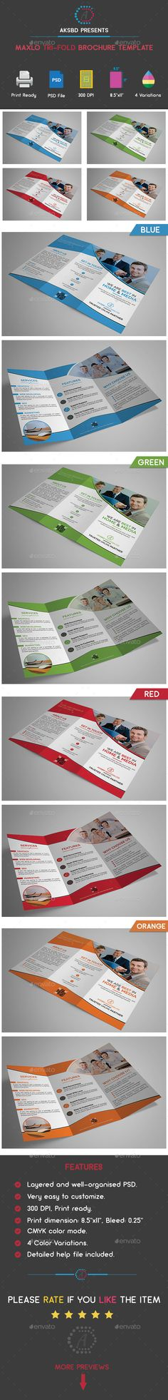 Maxlo Tri-Fold Brochure Template PSD. Download here: https://graphicriver.net/item/maxlo-trifold-brochure-template/17557257?ref=ksioks