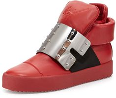 Giuseppe Zanotti Men's Leather High-Top with Plate Front, Red on shopstyle.com