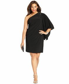 R Richards Plus Size Dress, Three Quarter Flutter Sleeve One Shoulder Beaded Cocktail Dress - Plus Size Dresses - Plus Sizes - Macy's  I was thinking something like this for my cousin's wedding... ????