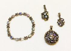 Jewelry LOT 4 Sterling Silver, Marcasite,Art Deco,Amethyst,Peridot,Pink Topaz,Citrine Flower Pendants,Bracelet on Etsy, $67.99