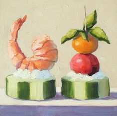"""Appetizers by Pat Doherty Oil ~ 8"""" x 8"""""""