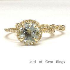 Round Aquamarine Engagement Ring Sets Pave Diamond Wedding 14K Yellow Gold 7mm Art Deco Band
