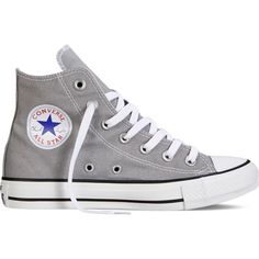 Converse Chuck Taylor All Star Fresh Colors – grey Sneakers ($40) ❤ liked on Polyvore featuring shoes, sneakers, converse, zapatos, grey, converse sneakers, converse footwear, grey sneakers, high top shoes and grey shoes