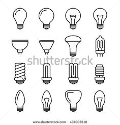 Light bulb outline vector icons. Energy and power lightbulb illustration. Fluorescent and halogen lightbulb lamp