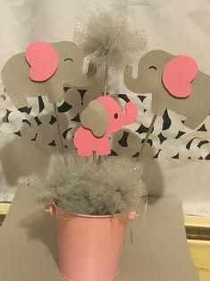 Elephant centerpiece baby shower girl