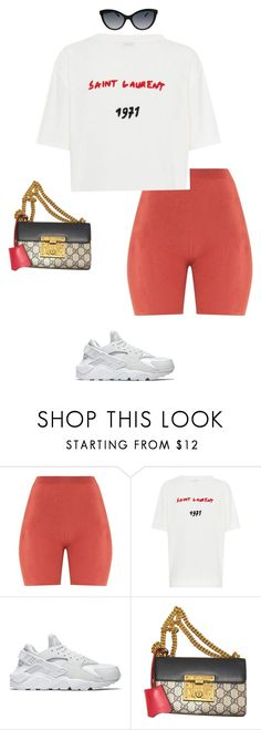 """Untitled #445"" by sb187 ❤ liked on Polyvore featuring Yves Saint Laurent, NIKE, Gucci and Roberto Cavalli"