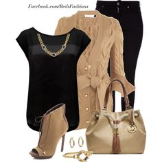 Tan & Black, created by missred76 on Polyvore