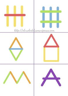 cards for making pictures with pop sticks Preschool Learning Activities, Preschool Worksheets, Infant Activities, Kindergarten Math, Preschool Activities, Kids Learning, Kids Education, Kids And Parenting, Popsicle Sticks