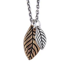 Mixed Metal Leaves Necklace - Pennyroyal Studio #leaves #jewelry #nature #naturejewelry #silver #bronze #leafnecklace
