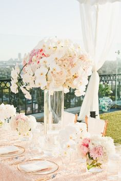Centerpiece with Orchids -- See more here: http://www.StyleMePretty.com/california-weddings/2014/05/15/pink-and-gold-wedding-at-the-london-west-hollywood/ - Event Design: KatKeane.com - Floral Design: DolceDesigns.com -  Photography: OneLove-Photo.com