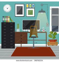 stock-vector-workplace-in-room-vector-flat-illustration-flat-design-illustration-home-office-study-room-380782234.jpg (450×470)