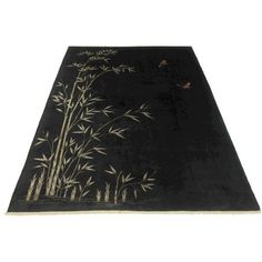 Black Chinese Art Deco Rug - 8′10″ × 11′4″ ($6,320) ❤ liked on Polyvore featuring home, rugs, butterfly rug, bamboo area rug, black rug, bamboo rug and black area rugs