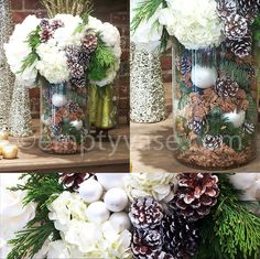 White roses, white hydrangea, Dutch white peonies, christmas greens, pinecones, holiday ornaments, and Dianthus moss.
