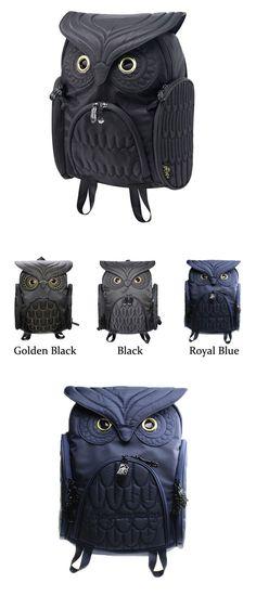 Fashion Street Cool Owl Shape Solid Computer Backpack School Bag Travel Bag only…