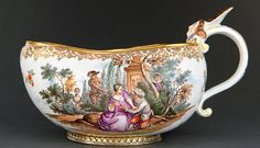 A rare Meissen bourdalou with figures of the Commedia dell'Arte after Lancret, ca. 1741
