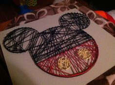 DIY String Art Mickey Mouse Wall Art #DIY #Disney #Canvas #Canvases #HomeDecor #Decor #Decorate #Decorations