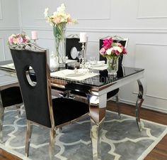 Stół do jadalni stal szklany nowoczesny czarny GLAMOUR 1