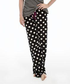 Look what I found on #zulily! Pajama Drama Black & White Polka Dot Super Luxe Pajama Pants - Women by Pajama Drama #zulilyfinds
