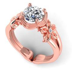 Floral design Moissanite ring, Rosegold ring. Style 116RGDM