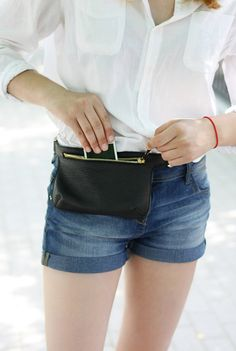 Black Leather Belt Bag Waist Bag Fanny Pack Hip by MISHKAbags I want something like this to wear to work