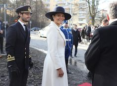 13 March 2017 - Princess Victoria and Carl Philip attend a Memorial Service in Stockholm - coat by Ida Sjöstedt, dress by Escada