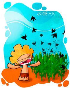 Jusear/Usear: Espantar animales que causan molestia. Ej: Gofio se pasó toda la mañana juseando pájaros de la cosecha. - Jusiiiaa !! Jusiiia !!  *También se dice: Ajusear, Jusear, Usear, Julear, Jusiar, Ajusiar...
