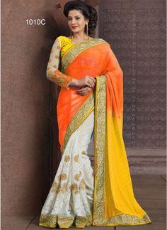 Multicolored Chiffon Embroidery Designer Work Half N Half Saree#bollywood  http://www.angelnx.com/Sarees/Party-Wear-Sarees