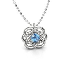Round Blue Topaz Sterling Silver Necklace