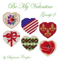 Be My Valentine Group 2 by Suzanne Cooper Peyote Stitch Patterns, Seed Bead Patterns, Loom Patterns, Beading Patterns, Jewelry Patterns, Beaded Banners, Cross Stitch Heart, Perler Bead Art, Loom Beading