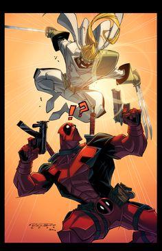 Deadpool Vs. Shatterstar via E-Mann on deviantART