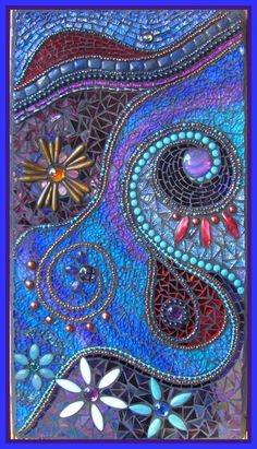 "TWILIGHT DREAMS    Made from....    Turquoise, Dichroic Cabochons, Mother of Pearl, Hemimorphite Olivary, Cultured Pearls,Amethyst, Agate, Gold Coral, Blue Sand Night Stars Sitara, Lapis Lazuli, Loads of 4mm Glass Beads.    Iridised, patterned, mirror & TG glass    MEASURES... 46 x 25cm    (18 x 10"")"
