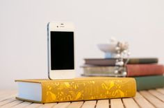 iPhone vintage book dock. So awesome if dad's a book lover!