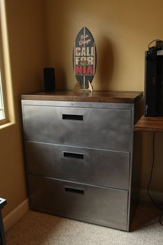 Refinished 3 Drawer Metal Filing Cabinet 30 36 42 Urban Office Storage Steel Furniture