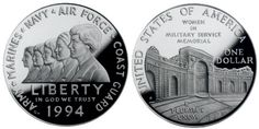 The 1994 Women in Military Service Memorial Silver Dollar was issued for the construction of a new memorial complex for women in military service. This was one of three programs issued for related memorials. The other programs were for the Vietnam Veterans Memorial and the Prisoner of War Memorial.
