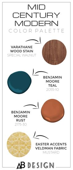 Here is the perfect mid century modern color scheme including teal and orange rust paint colors, walnut wood stain, and a mustard mud cloth print fabric. Modern Color Palette, Modern Paint Colors, Modern Color Schemes, Paint Colors For Home, Wood Stain Colors, Mid Century Modern Colors, Mid Century Modern Fabric, Mid Century Modern Bedroom, Mid Century Modern Design