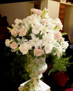 Church altar flower arrangements - large urn with an arrangement of Sahara roses and white oriental lilies with trailing amaranths spilling over. Peach Wedding Theme, Orange Wedding, Floral Wedding, Wedding Flowers, Wedding Ceremony Ideas, Wedding Church, Church Ceremony, Wedding Tips, Wedding Stuff
