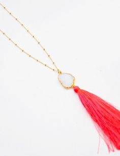 Drusy Tassel Necklace