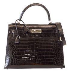 HERMES KELLY 28 bag Black Porosus Crocodile palladium   From a collection of rare vintage top handle bags at https://www.1stdibs.com/fashion/handbags-purses-bags/top-handle-bags/