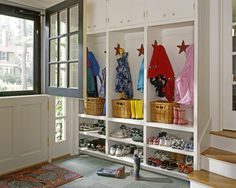 Shoe Cubbies Mudroom Design Ideas, Pictures, Remodel and Decor Shoe Cubby Storage, Entryway Bench Storage, Shoe Shelves, Storage Ideas, Coat Storage, Deep Shelves, Storage Solutions, Cubbies, Home Design