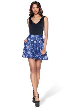Snowfall+Pocket+Skater+Skirt+-+LIMITED+–+Black+Milk+Clothing