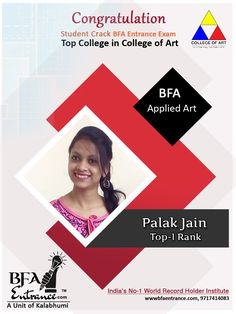 """Congratulations  Palak Jain Student of Bfa Entrance ( A Unit of Kalabhumi Arts- India's No-1 World Record Holder Institute)  Crack BFA Entrance exam Top -1 Rank in Applied Art  Top College in India College of Art... """"Many, many congratulations on your impressive performance"""" Palak Jain Fine Arts College, Top Colleges, Record Holder, Drawing Studies, Bachelor Of Fine Arts, Entrance Exam, World Records, Visual Communication, Life Drawing"""