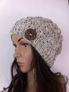 Oatmeal  color Slouch Beanie Slouchy  Hat Button by LoreNovedades, $38.50