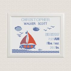 cross stitch baby birth sampler, birth announcement, nautical theme, sailboat with Clouds, gulls, customizable DIY pattern unique birth gift by AnimalsCrossStitch on Etsy https://www.etsy.com/listing/506022258/cross-stitch-baby-birth-sampler-birth