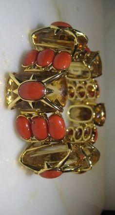 Vintage tony duquette 18kt yellow gold coral citrine bracelet