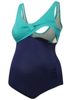 Amoralia - Nursing Swimsuit in Emerald/Navy
