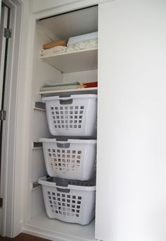 Looking for in closet laundry solutions? Here's a great hanging laundry basket tutorial for your closet and you can do it yourself! Laundry Cupboard, Laundry Nook, Laundry Sorting, Laundry Room Remodel, Small Laundry Rooms, Laundry Room Storage, Laundry Room Design, Laundry In Bathroom, Clothes Storage