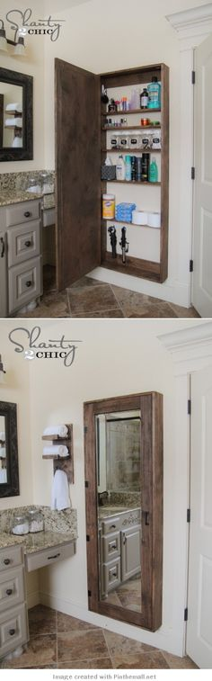 DIY Wood Working Projects: DIY Bathroom Mirror Storage Case - Shanty 2 Chic