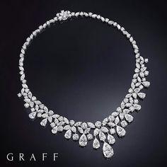 A rare diamond necklace featuring 84.34cts of the finest white diamonds scintillates like a sky full of stars. #GraffDiamonds #FineJewellery #DiamondNecklace #PearshapeDiamond #MarquiseDiamond