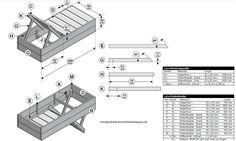 Ligbed bouwtekening voor steigerhout, met zaaglijst en instructies.