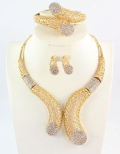 Gold Plated Crystal  Necklace Bangle Earring Ring Jewelry Set